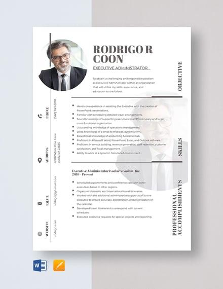 Executive Administrator Resume Template