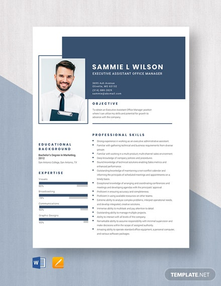 Executive Assistant Office Manager Resume Template