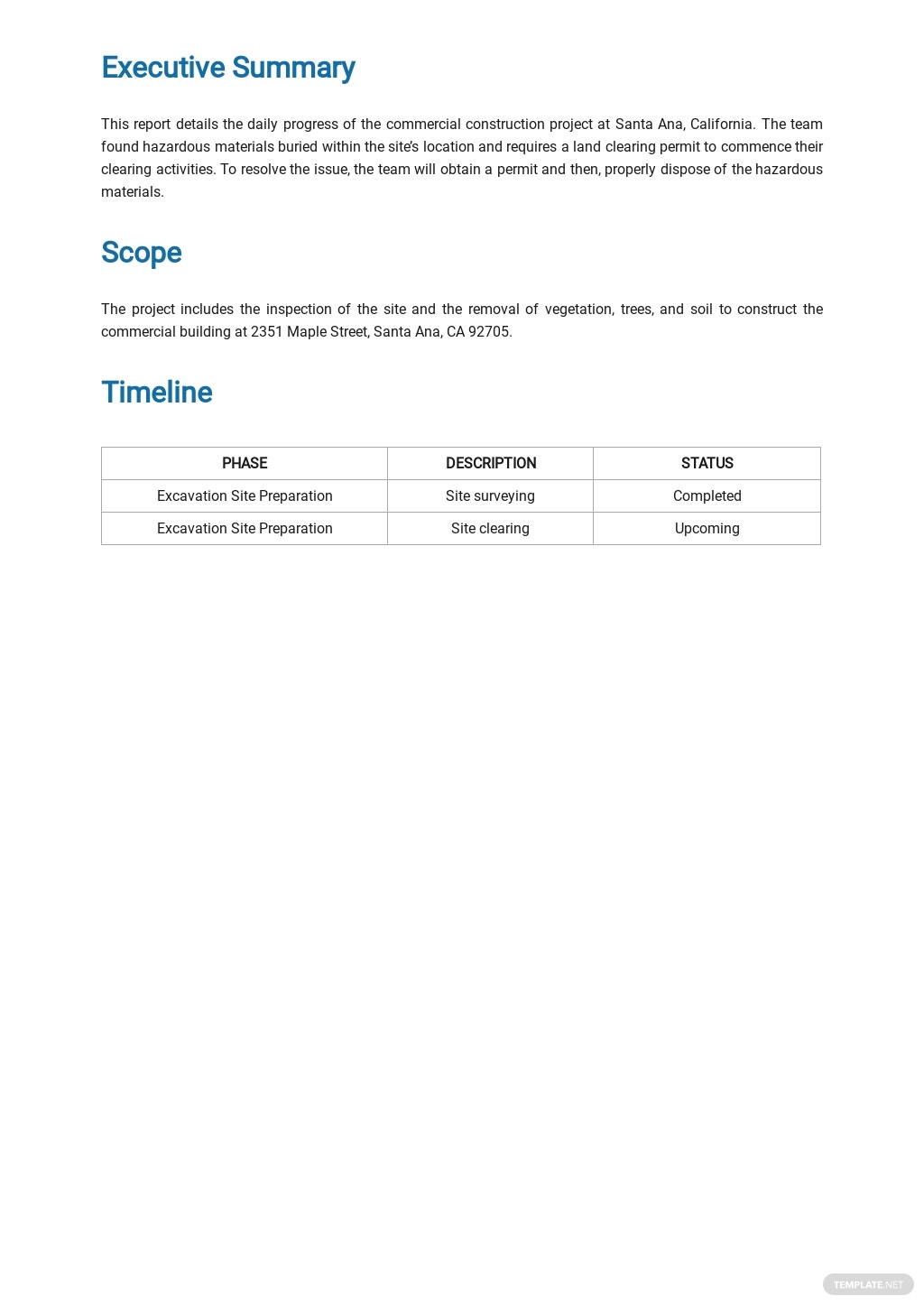 Free Daily Construction Report Sample Template 1.jpe