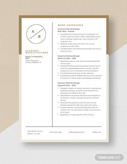 Executive Meeting Manager Resume Template [Free Pages] - Word, Apple Pages