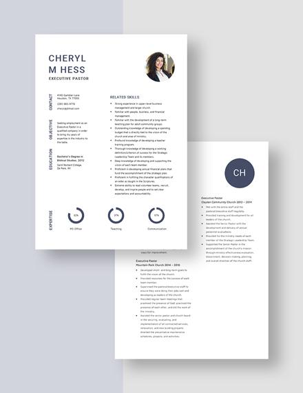 Executive Pastor Resume download