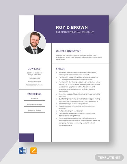 Executive Personal Assistant Resume Template