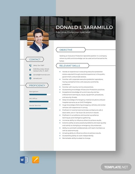 Executive Protection Specialist Resume Template
