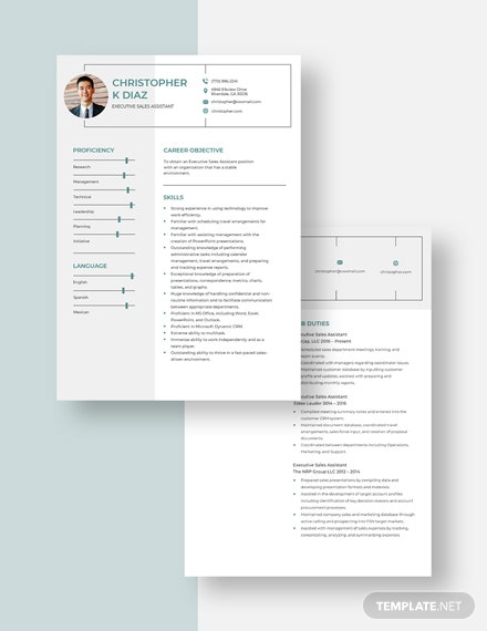 Executive Sales Assistant Resume download