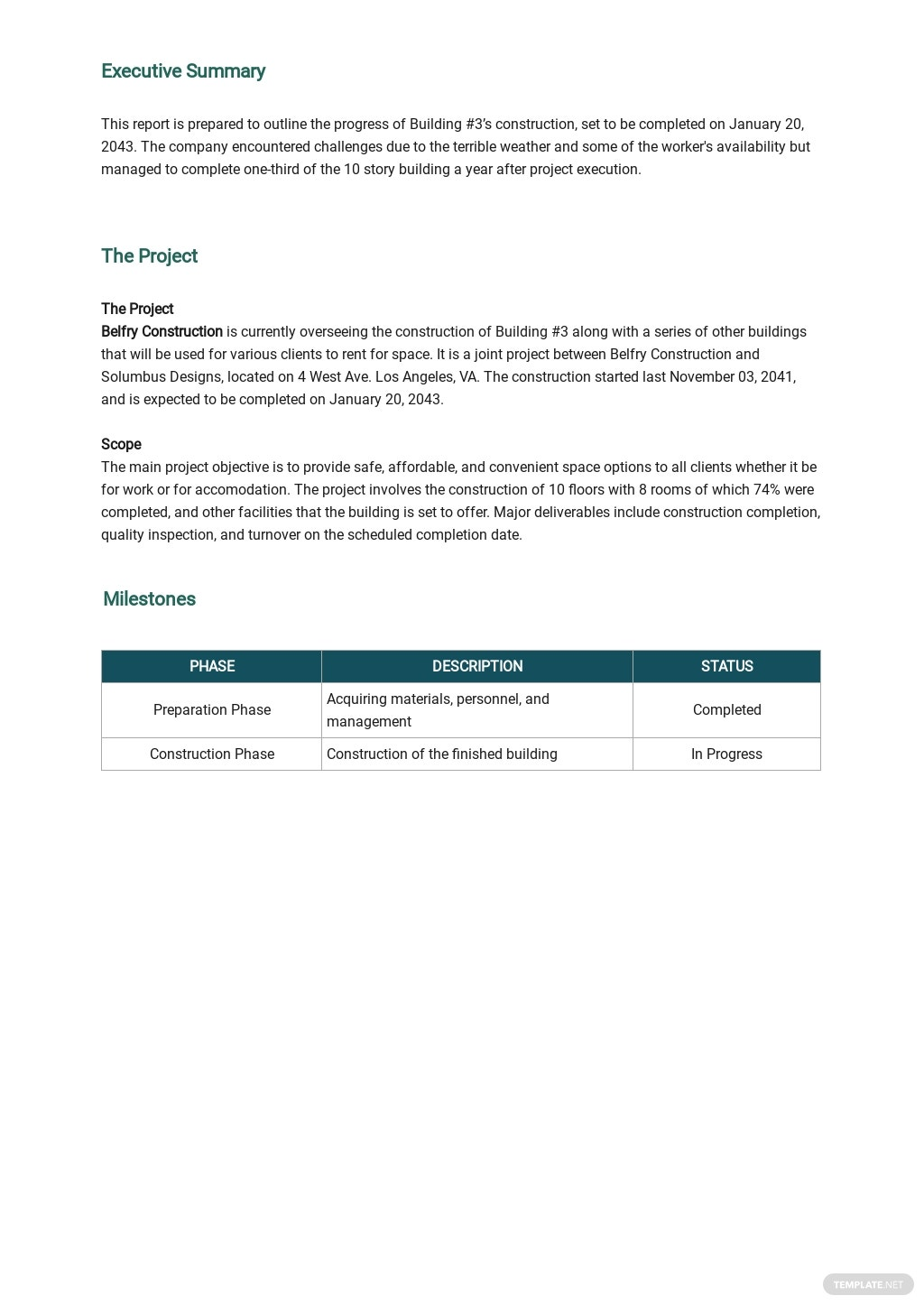 Free Daily Progress Report for Building Construction Template 1.jpe