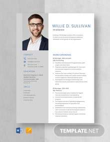 PR Manager Resume Template