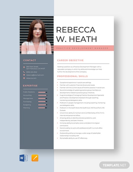 Practice Development Manager Resume Template