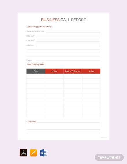Free Business Call Report Template