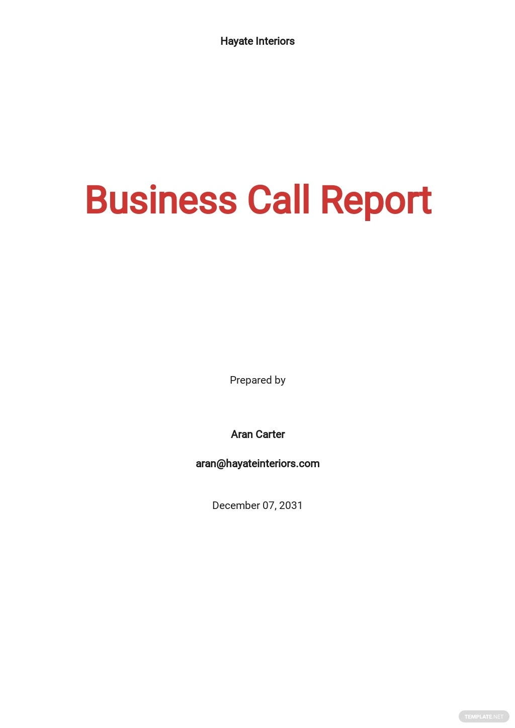 Free Business Call Report Template.jpe