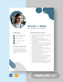 Pre Construction Manager Resume Template