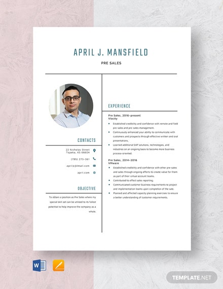 Pre Sales Resume Template