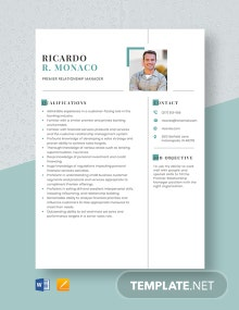 Premier Relationship Manager Resume Template