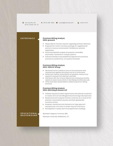 Premium Billing Analyst Resume  template
