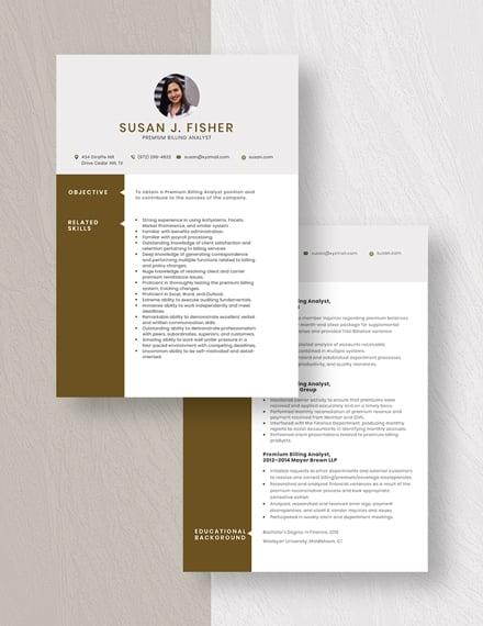 Premium Billing Analyst Resume download