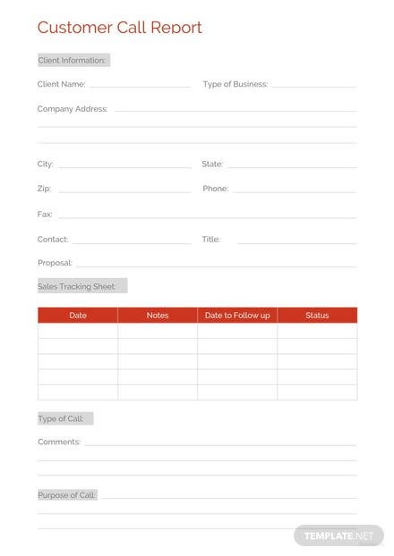 Customer Call Report Template