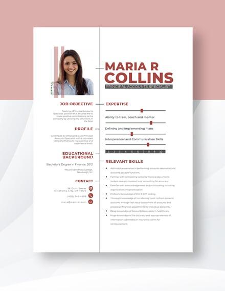 Principal Accounts Specialist Resume Template