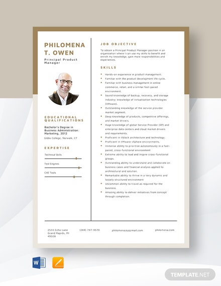Principal Product Manager Resume Template