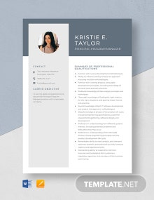 Principal Program Manager Resume Template