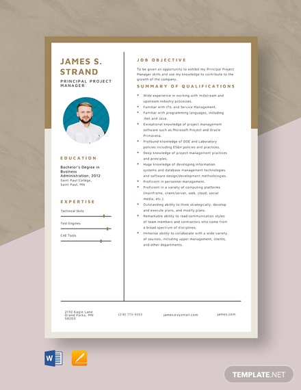 Principal Project Manager Resume Template