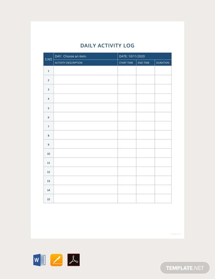 Free-Daily-Activity-Report-Template
