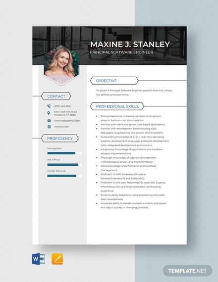 Principal Software Engineer Resume Template
