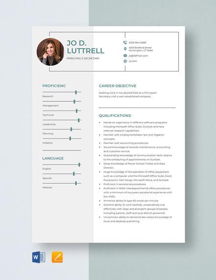 Principal's Secretary Resume Template