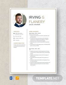 Sales Trainer Resume Template