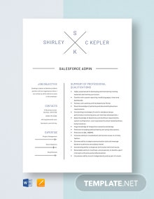 Salesforce Admin Resume Template