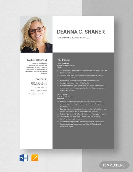 Salesforce Administrator Resume Template