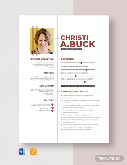 Salon Receptionist Resume Template