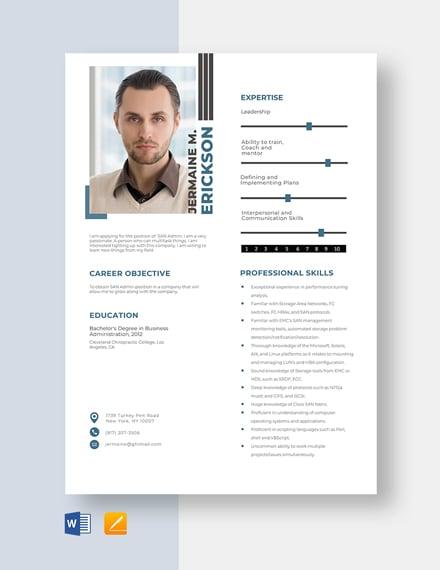 SAN Admin Resume Template