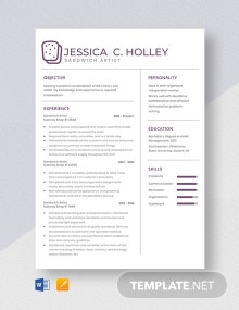 Sandwich Artist Resume Template