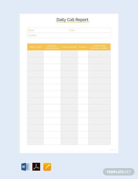 Free Daily Call Report Template