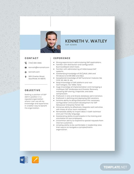 SAP Admin Resume Template