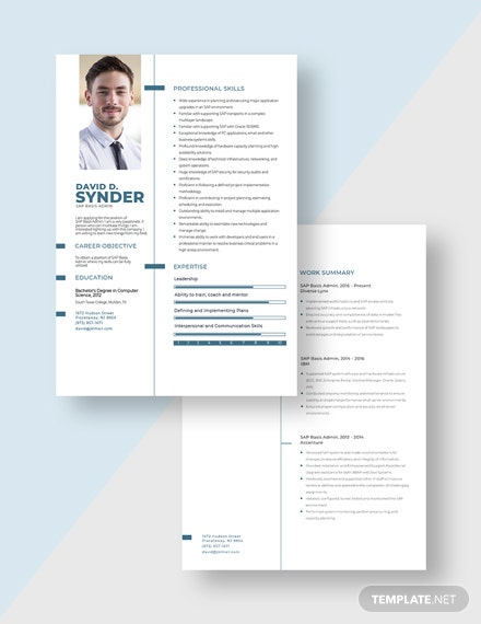 SAP Basis Admin Resume Download