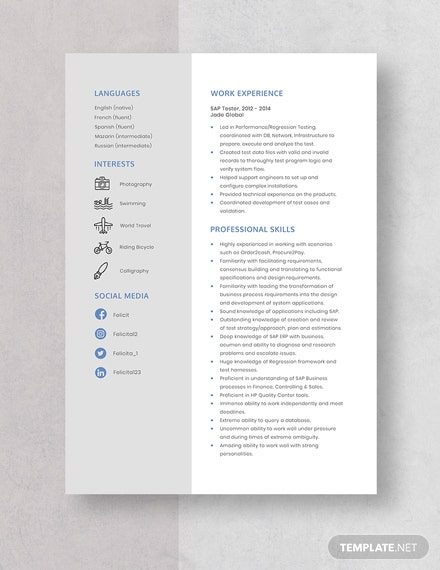 sap tester resumecv template  word  apple pages