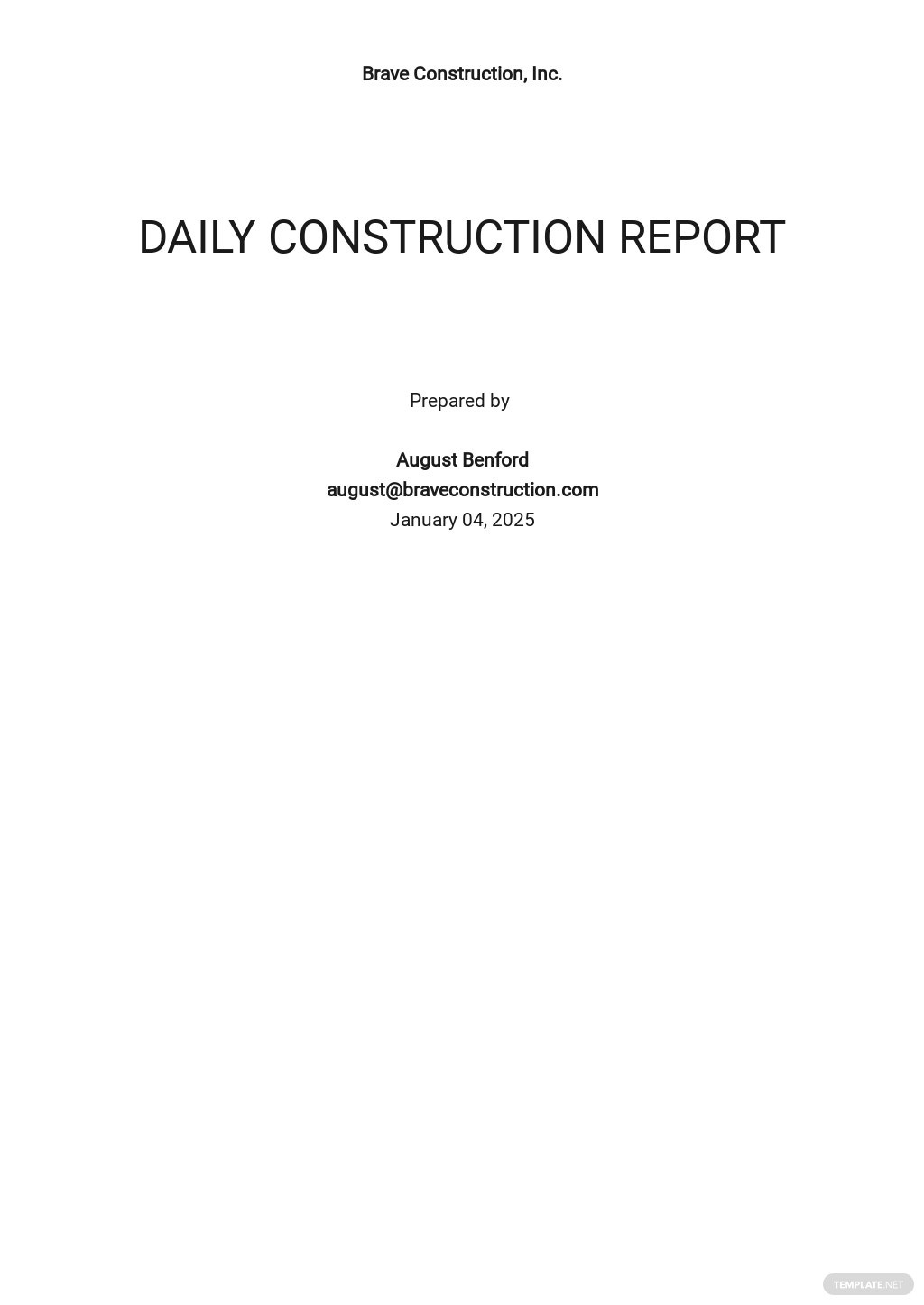 Daily Construction Report Template [Free PDF] - Google Docs, Word
