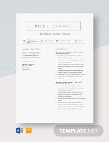Secondary School Teacher Resume Template