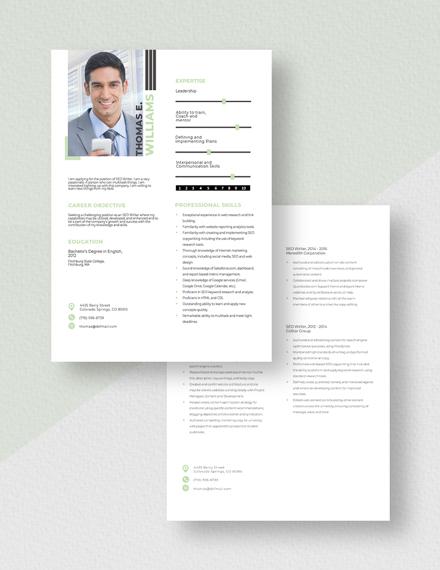 SEO Writer Resume Download