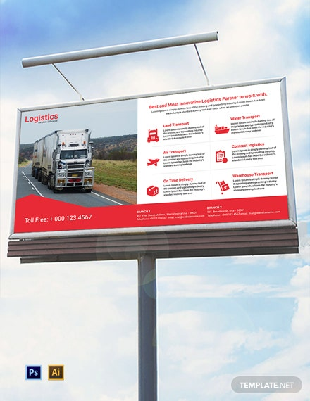Free Logistics Services Billboard Template