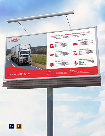 Free Logistics Services Billboard Template