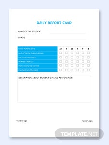 Sample Daily Report Card Template