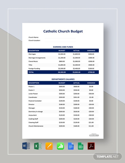 Free Catholic Church Budget Template