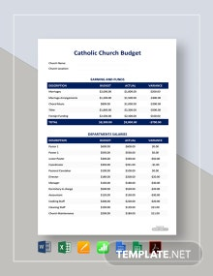 Free Catholic Church Budget Template