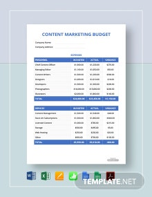 Free Content Marketing Budget Template