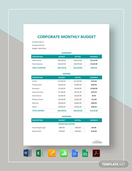 Free Corporate Monthly Budget Template