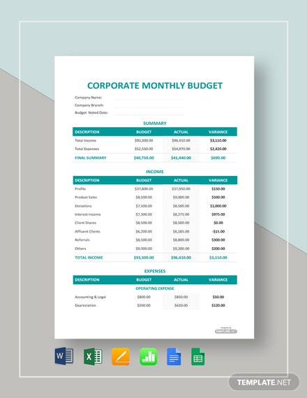 corporate monthly budget