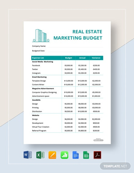 Free Real Estate Marketing Budget Template