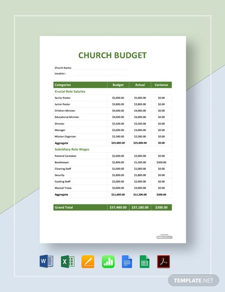Free Sample Church Budget Template