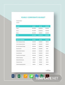 Free Yearly Corporate Budget Template